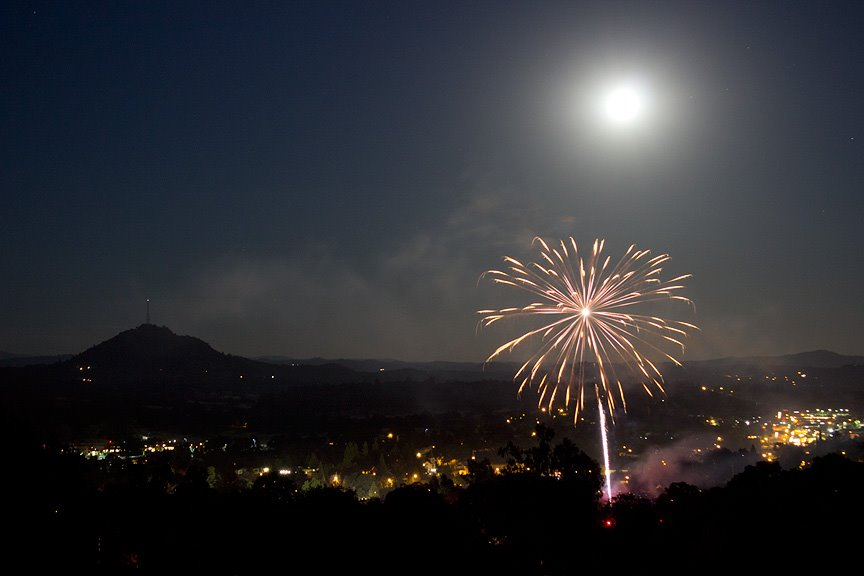 full moon fireworks and butte mountain | Farrell Focus