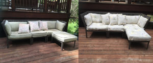 before and after side by side sectional outside cushion recover