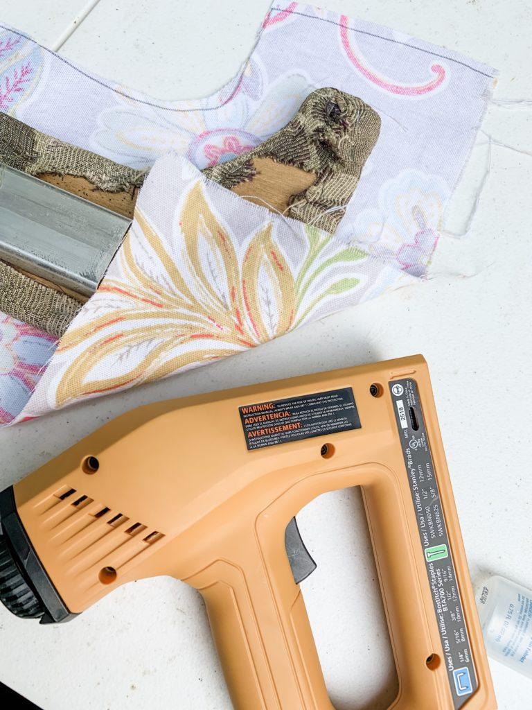 Hybrid RV Trailer padded fabric trim reupholster before
